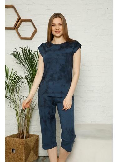 Akbeniz Kadın %100 Pamuk Penye Kolsuz Kapri Pijama Takım 3353 Lacivert